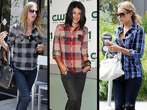 camisa xadrez jeans
