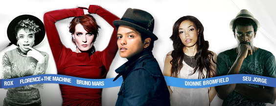 rox, florence the machine, bruno mars, dionne bromfield, seu jorge